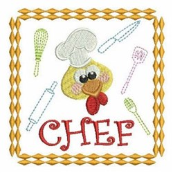 Rooster Chef Square embroidery design