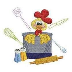 Rooster Chef & Pot embroidery design