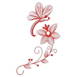 Redwork Dragonfly Border embroidery design