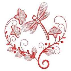Redwork Heirloom Dragonfly Heart embroidery design