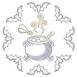 Redwork Halloween Witches Cauldron embroidery design