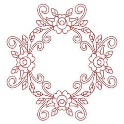Redwork Rose Quilt Block embroidery design