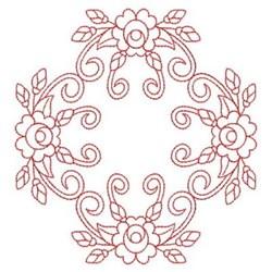 Redwork Diamond Rose Block embroidery design