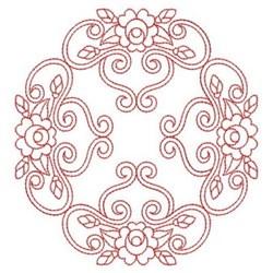 Redwork Rose Quilt Square embroidery design