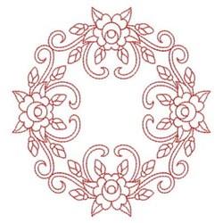 Redwork Rose Circle Block embroidery design