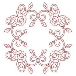 Redwork Rose Square embroidery design