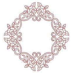 Redwork Rose Diamond Block embroidery design
