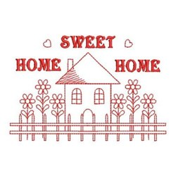 Redwork Sweet Home Scene embroidery design