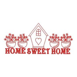 Redwork Home & Potted Flowers embroidery design