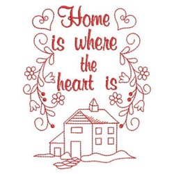Redwork Home & Hearts embroidery design