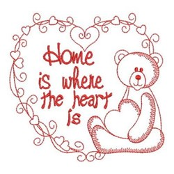 Redwork Home Teddy Bear embroidery design