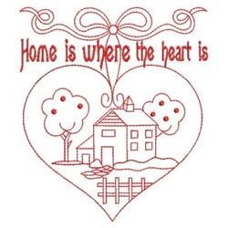 Redwork Home & Heart embroidery design