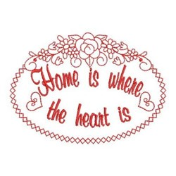 Redwork Home Oval Sign embroidery design