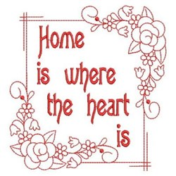 Redwork Floral Home Frame embroidery design