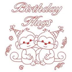 Redwork Happy Birthday Monkeys embroidery design