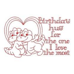 Redwork Happy Birthday Alligators embroidery design