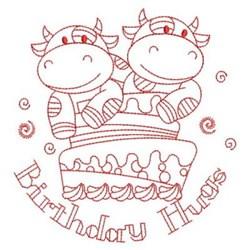 Redwork Happy Birthday Cows embroidery design