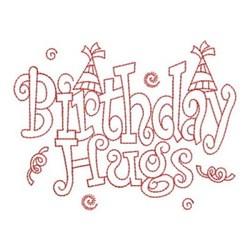 Redwork Happy Birthday Hugs embroidery design