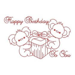 Redwork Happy Birthday Koalas embroidery design