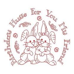 Redwork Happy Birthday Bunnies embroidery design
