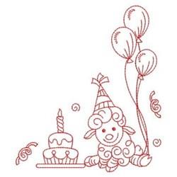 Redwork Happy Birthday Lamb embroidery design
