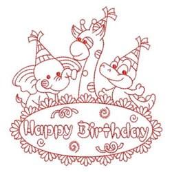 Redwork Happy Birthday Wildlife embroidery design