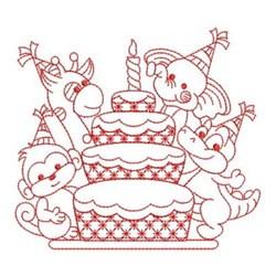 Redwork Birthday Cake & Wildlife embroidery design