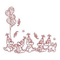 Redwork  Birthday Alligator Corner embroidery design