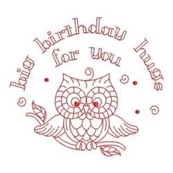 Redwork Happy Birthday Owl embroidery design