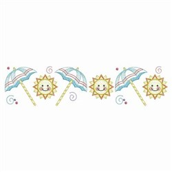 Summer Umbrella & Sun Border embroidery design
