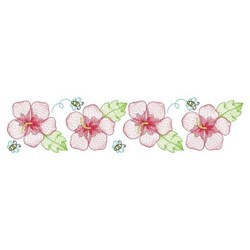 Summer Hibiscus Border embroidery design