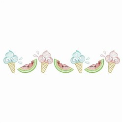 Ice Cream & Watermelon Border embroidery design