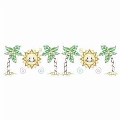 Palm Tree & Sun Border embroidery design