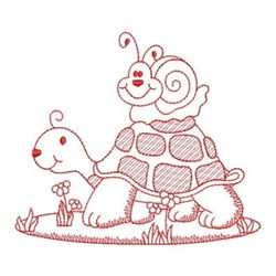 Redwork Turtle & Snail embroidery design