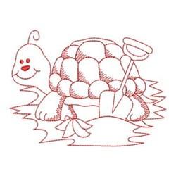 Redwork Turtle & Shovel embroidery design