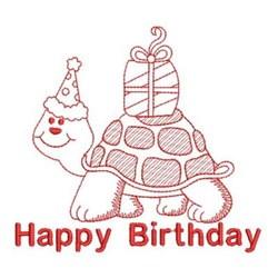 Redwork Birthday Turtle embroidery design