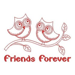 Redwork Friends Forever Owls embroidery design