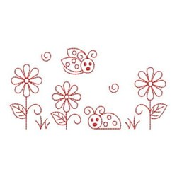 Redwork Friends Forever Ladybugs embroidery design