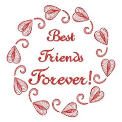 Redwork Best Friends Forever embroidery design
