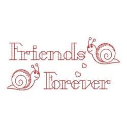 Redwork Friends Forever Snails embroidery design