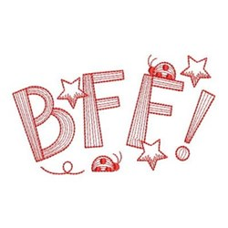 Redwork BFF Ladybugs embroidery design