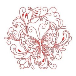 Redwork Heirloom Butterfly Circle embroidery design