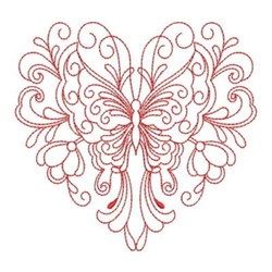 Redwork Heirloom Butterfly Heart embroidery design