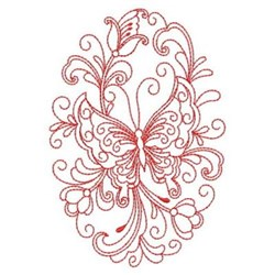 Redwork Heirloom Butterfly Oval embroidery design
