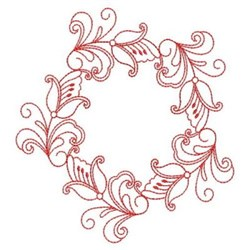 Redwork Heirloom Butterfly Wreath embroidery design