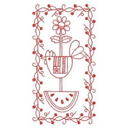 Redwork Country Banner embroidery design