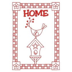 Redwork Home Banner embroidery design