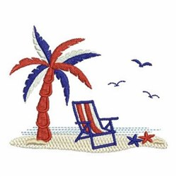 Patriotic Beach Scene embroidery design