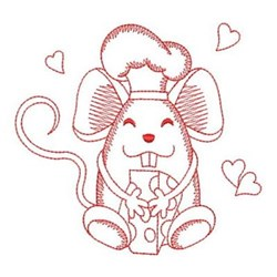 Redwork Mouse Chef embroidery design