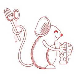 Redwork Kitchen Mouse embroidery design